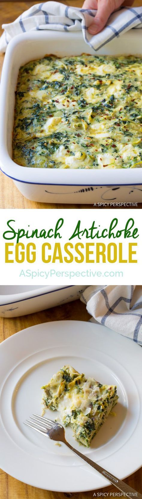 Zesty Spinach Artichoke Egg Casserole (Low Carb, Vegetarian & Gluten Free!) | A Spicy Perspective