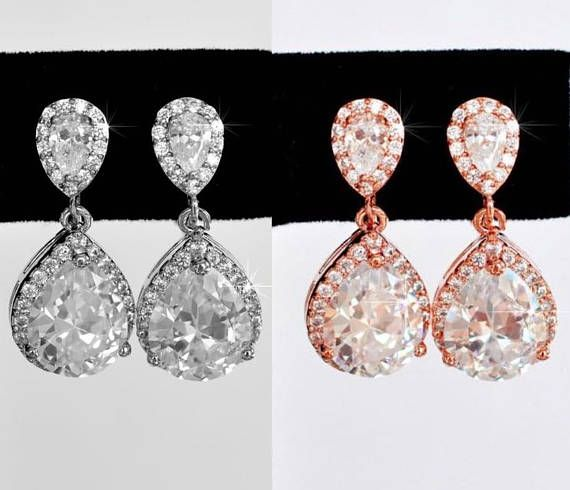 Rhodium or Rose Gold Gorgeous Classic Pear Cubic Zirconia CZ