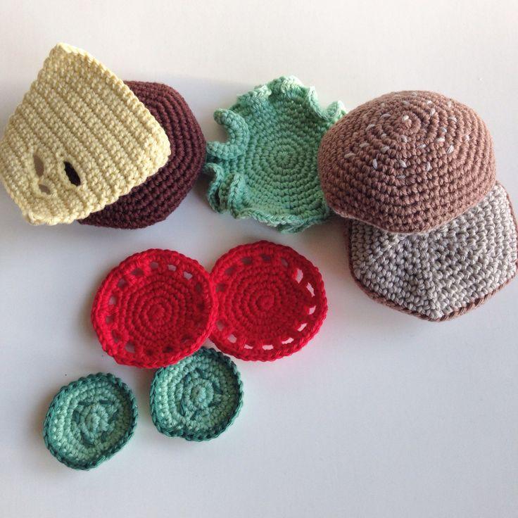 Crochet burger parts