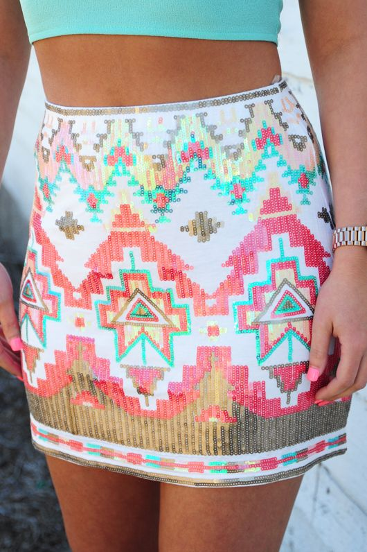 Feel That Fire Skirt: White/Multi