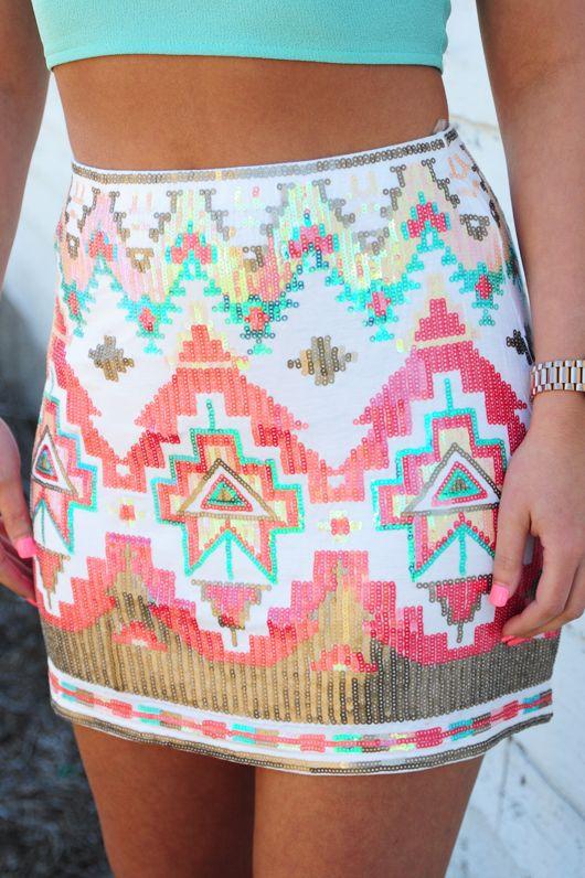 Feel That Fire Skirt: White/Multi
