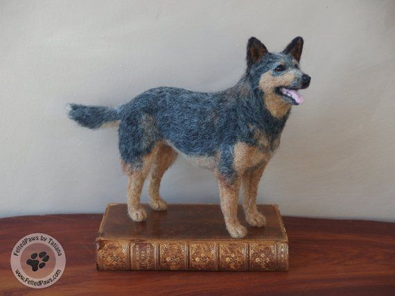 Needle Felted Blue Heeler Australian Cattle Dog Felt Dogs Needle Felted Dog Felt Animals