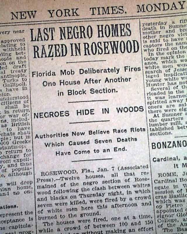 rosewood massacre | rosewood florida negro massacre report item 579598 january 8 1923 the ...