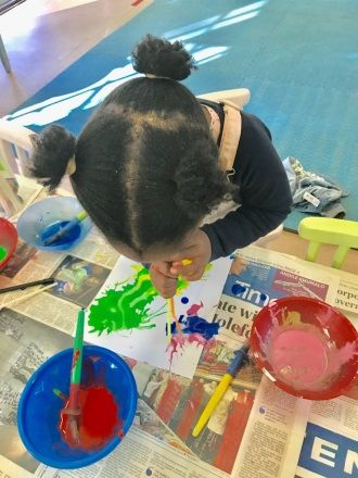This is a fun activity for children that creates a beautiful effect: blowing at different colours of paint through a straw.