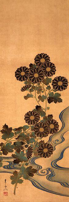 鈴木其一 Suzuki KIITSU 1796–1858 Chrysanthemums and Stream Edo Period (1615-1867…