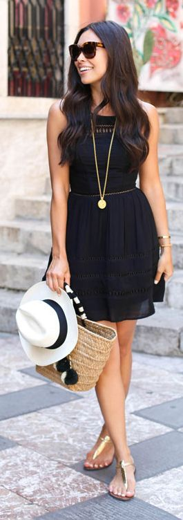 Simple and stylish travel dress.  For day with gold sandals.  Add a blazer and heels for evening