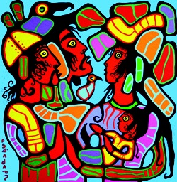 Artist: Norval Morrisseau a.k.a. Copper Thunderbird. Master Shaman from the Canadian Ojibwe.