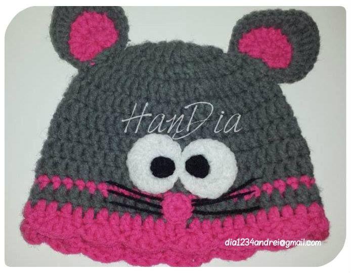 Caciulita crosetata by HanDia Crochet hat for kids mouse