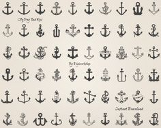 Anchor Clip Art: Sea Anchor nautical clipart with by DigiWorkshop