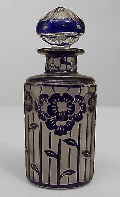 2-French-Art-Deco-Frosted-Cylindrical-Form-Glass-Perfume-Bottles
