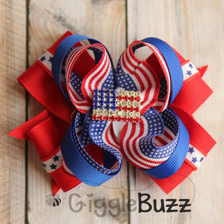 Sparkling Flag Stacked Hair Bow-fourth of July, flag, stars, red white and blue, patriotic, memorial day, Independence Day