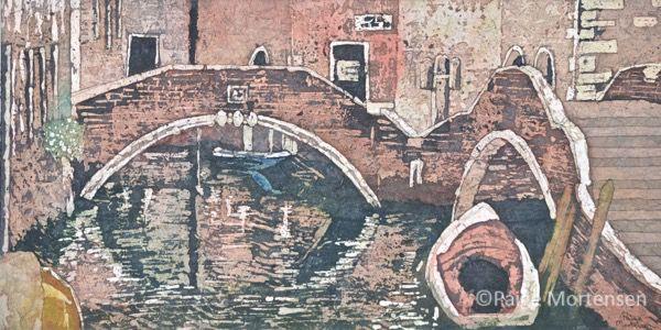 "Walk by the Canal Watercolour Batik ©Paige Mortensen 10x20"" March 26, 2016"