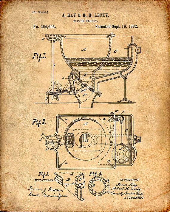 Imprimir patentes de inodoro impresión del arte de la