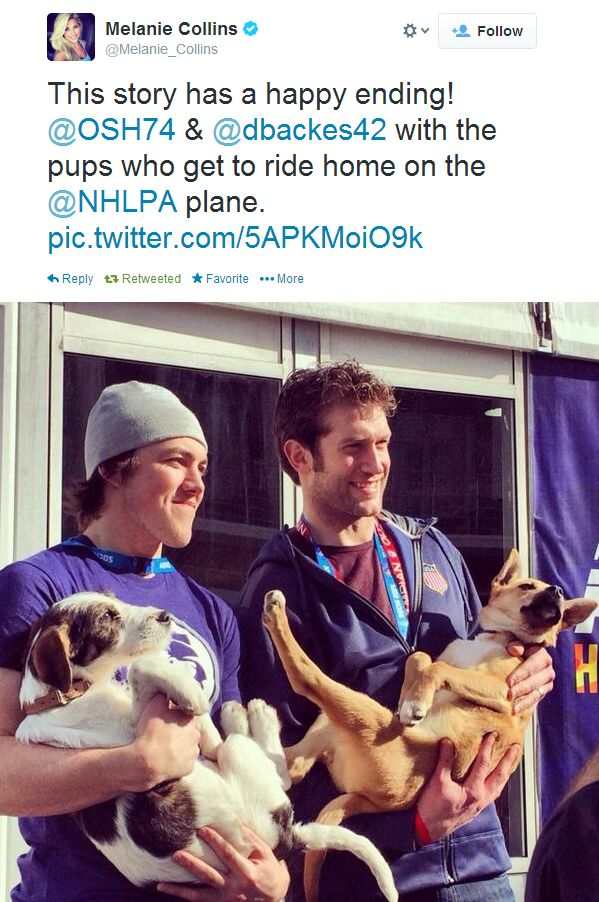 TJ Oshie and David Backes rescue a couple of puppies from Sochi.