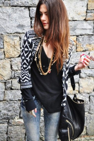 black + denim + chains= Peefect outfit for running errands or grabbing a beer with friends