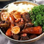 Rich and Comforting Beef Bourguignon in a delicious rich sauce.... Slow cookedmerrily in the oven until beautifully tender. This is a great dish for when you have guests.