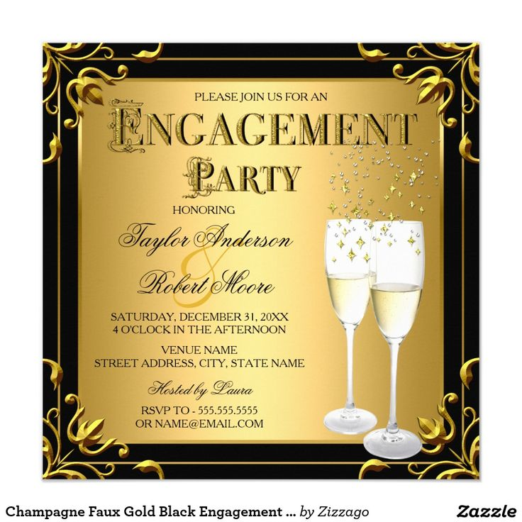 Champagne Faux Gold Black Engagement Party Photo Card
