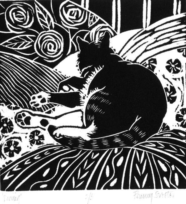 catnap lino print - edition of 10 ...Penny Streeter
