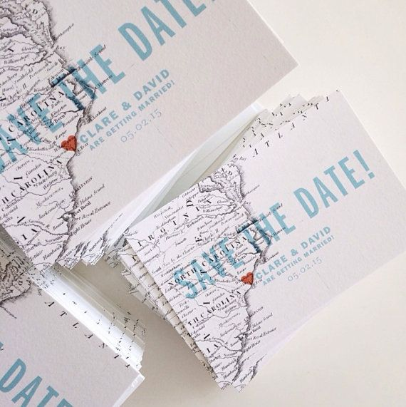 Gazette is a destination save the date that is bold, modern, and fun. The travel save the date postcard features a vintage map, and bold stripes add