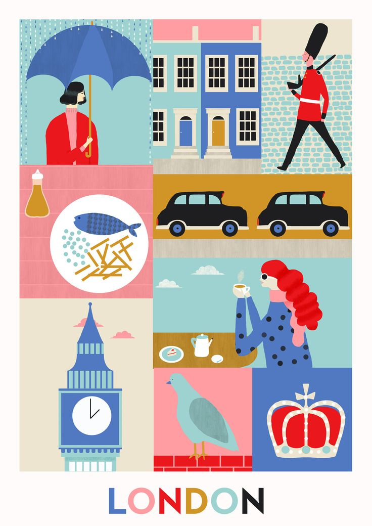 Naomi Wilkinson Illustration, postcard, travel, city, holiday, composition, drawing, graphic, texture, print, london, colour