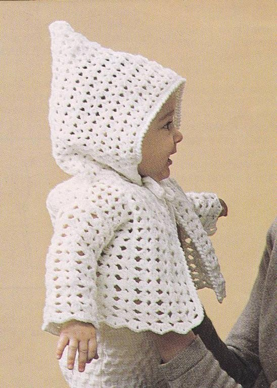 Vintage Crochet Easy Baby Hooded Jacket