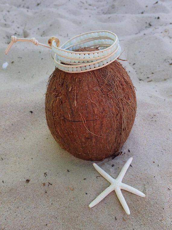 SALE Amazonite Wrap Bracelet Aqua beads Beaded by CoconutLily - £19.00