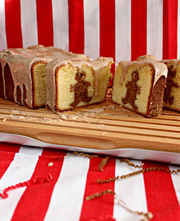 Gingerbread decorated pound cake with a cinnamon sugar glaze