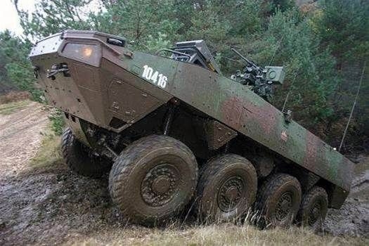 New Armored Vehicle In The Works For Australia. This Patria AMV is an eight-wheeled armored body, used by militaries from Poland to South Africa. It can go faster than 60 mph, and with its large tires and suspension system, it can cross rougher terrain than many vehicles. Where it shines, however, is with what goes on top. Weapons from small guns to big guns to tank-like cannons can be mounted in turrets on top, as well as artillery pieces or other specialized weapons.