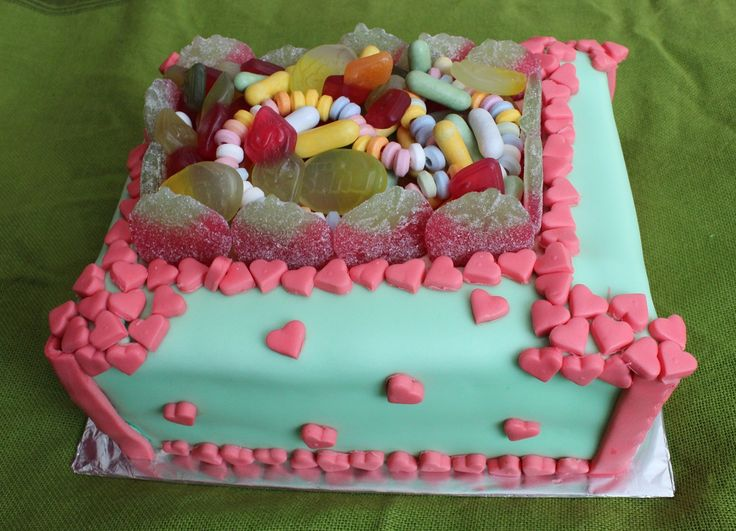 A candy covered cake