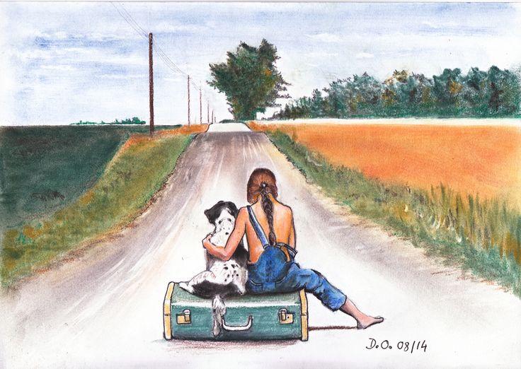 friendship in hard times .. Thank you for your like ... l'amitié dans les coups durs... techniques mixte encre et Panpastel  Merci pour vos like...