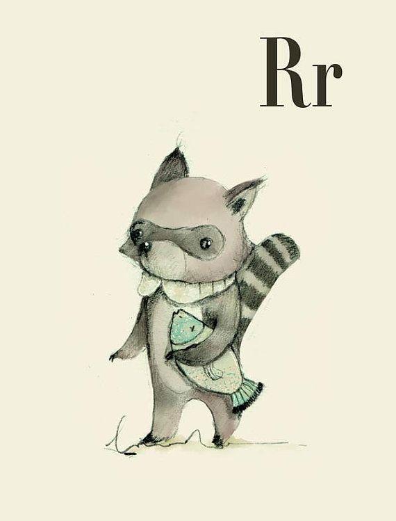 R für Waschbär - Alphabet Kunst - Alphabet drucken - ABC Wand Kunst - ABC print - Kinderzimmer - Kinderzimmer Dekor - Kinder Zimmer Dekor - ...