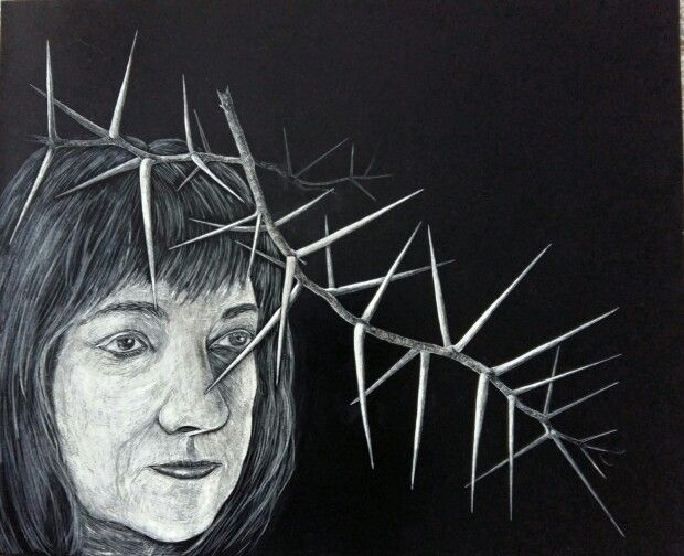 Scratchboard by Annali Delsink. Don't mind the ghosts around you. 2015.