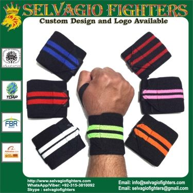 WEIGHT LIFTING WRIST WRAPS WRIST SUPPORTS BODY BUILDING WRIST WRAPS GYM TRAINING FIST STRAPS 13 INCHES WITH CUSTOM LOGO