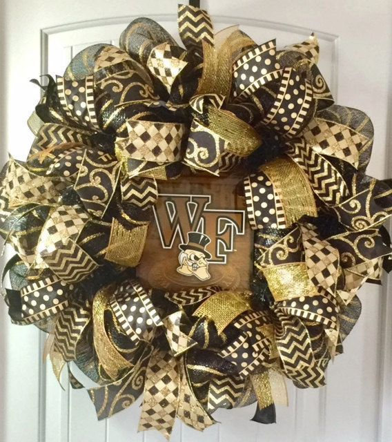 Wake Forest University Wreath, Wake Forest Demon Deacons Wreath, Graduation Gift, Wake Forest University, Gift For Dad, Father's Day Gift by beadingheartdecor on Etsy