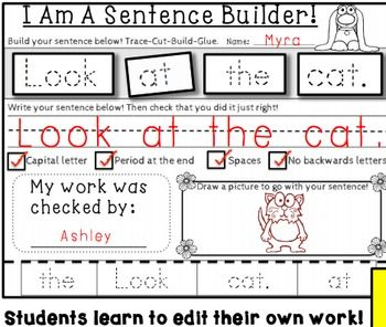 FREEBIES Sentence Building Kits - Whimsy Workshop Teaching...Kindergarten, 1st, 2nd, Homeschool Worksheets, Printables, Literacy Center Ideas..This is set of three different ways to practice simple sentence formation where students build, write, self-edit and peer edit their sentences. These FREE pages increase in complexity and are samples from a year-long bundle of sentence building that practices the following skills: