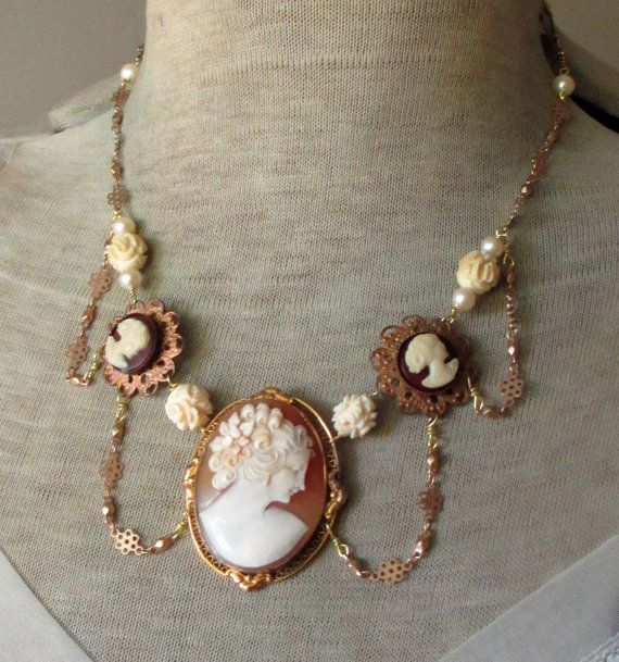 CAMEO FESTOON  vintage assemblage neckalce with by TheFrenchCircus