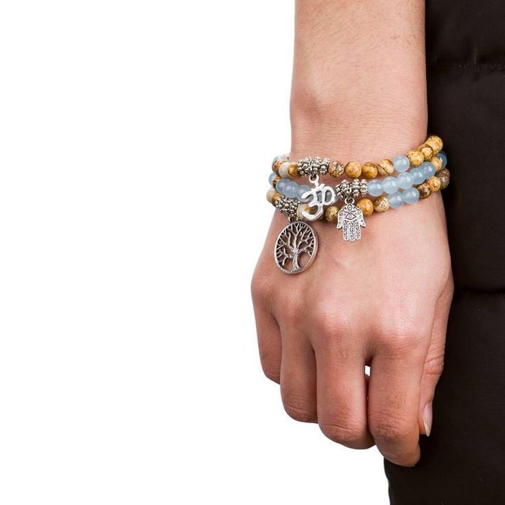Azul claro con pulsera pendiente encanto (3 estilos)