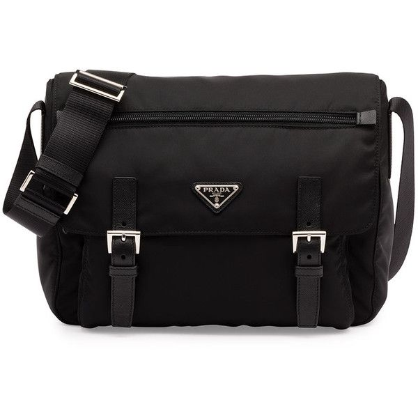 Prada Vela Small Double-Pocket Messenger Bag ($1,110) ❤ liked on Polyvore featuring bags, messenger bags, black, black flap bag, triangle bag, prada messenger bag, courier bag and prada bags