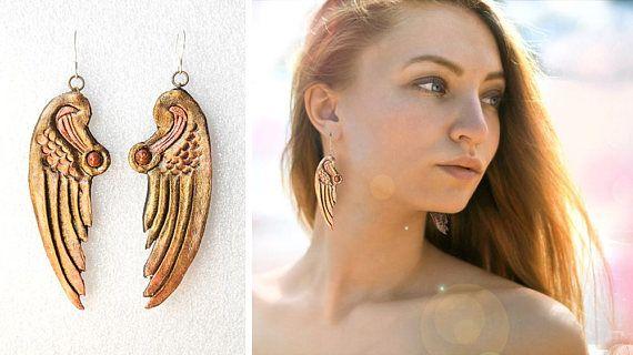 ANGEL WINGS EARRINGS Leatherwork chandelier jewelry beautyful