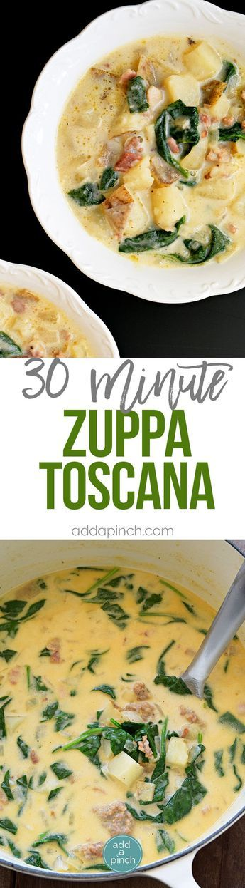 Zuppa Toscana Recipe - This Zuppa Toscana recipe tastes just like the famous Olive Garden soup and is ready 30 minutes! // addapinch.com #copycat #soup #zuppatoscana #italian #recipes #addapinch
