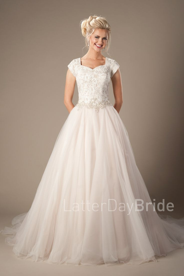 Whitaker | Modest Wedding Dress | LatterDayBride & Prom | Salt Lake City | Utah | LDS bridal gown | Princess | Ballgown | Gown available in White/Silver, Ivory/Silver or Champagne/Ivory/Silver    *Gown pictured in Champagne/Ivory/Silver