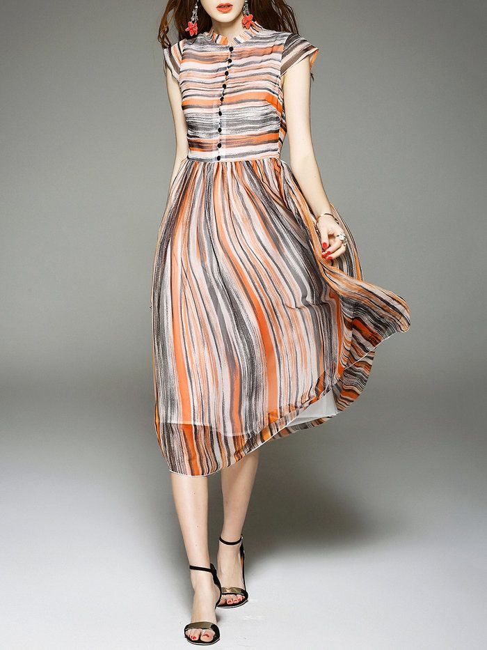 Orange Short Sleeve Silk Shirt Dress