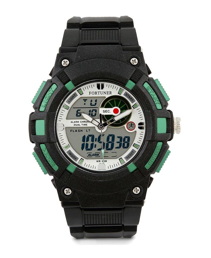 Black Rubber Fr819 Watch by Fortuner. Black rubber strap watch with black strap, buckle fastening, round case with a green color, water resistant, strap length 25 cm, diameter 5 cm, simple watch for everyday use.%0A%0A http://www.zocko.com/z/JHqty