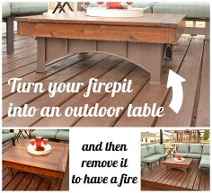 fire pit table top, decks, outdoor furniture, outdoor living, painted furniture, Convert your square fit pit into an outdoor table with a removable top See the details here