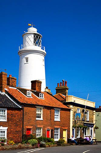 ~Cottages in front of the Lighthouse at Southwold Suffolk England~
