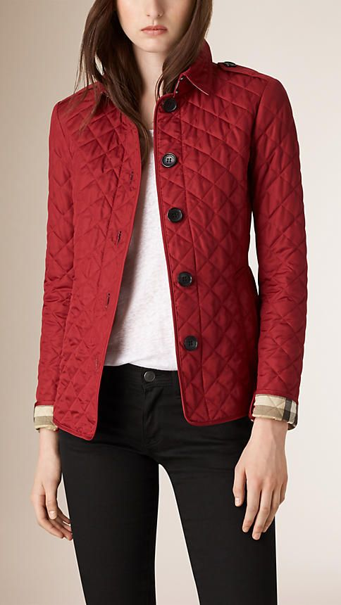 Burberry Parade Red Diamond Quilted Jacket, size XS or S