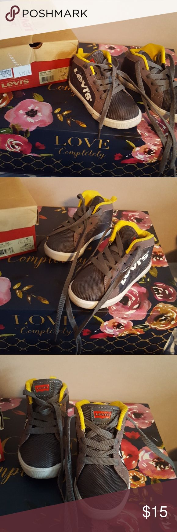 Grey, yellow, and white Levis tennis Very cute high top tennis! Levi's Shoes Sneakers