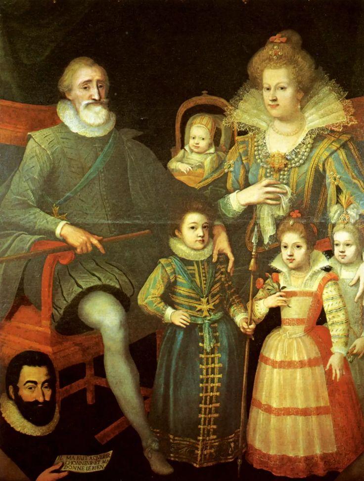 """Henri IV et Marie de Médicis, avec leurs quatre premiers enfants Louis, Élisabeth et Christine, et """"Nicolas"""" dans le berceau En bas à gauche, l'écuyer du roi, Guillaume Fouquet de La Varenne, probable commanditaire du tableau."""