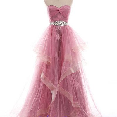 Ball gowns pink prom dress  sweetheart crystals ruffles tulle maids bright pink party dress