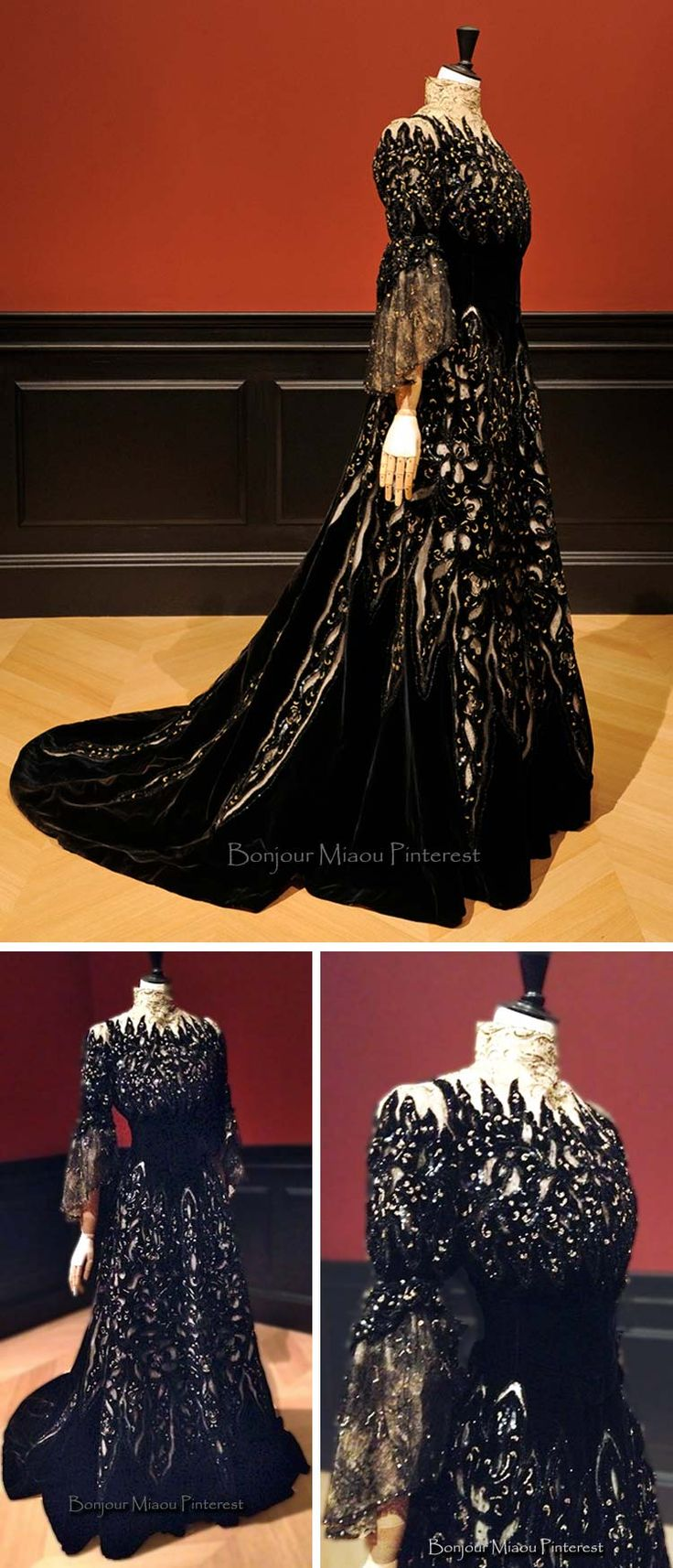Dress, Beauchez, ca. 1900. Midnight blue and brown silk velvet, machine lace, chiffon and  unbleached tulle, beading and sequins. Photo: Dominique Maître (top). Musee Galliera via Mode d'Hier et Aujourd'hui and WWD